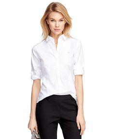 Non-Iron Tailored Fit Supima® Cotton Dress ShirtWhite