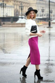 Long magenta pencil skirt with white top and black booties!