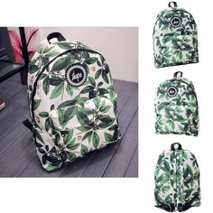 HETI 2015 Hot men and women printing leaves backpacks mochila rucksack fashion canvas bags retro casual school bags travel bags