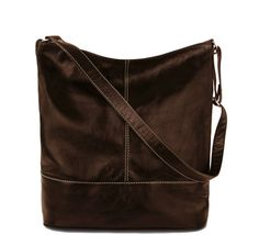 Mirka Dark Brown - simple casual A4 sized hobo bag, square crossbody hobo, chocolate brown leather, quality real leather purse for every day