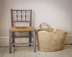 chair painted in Farrow & Ball's Brassica, basket from Muji