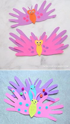 BUTTERFLY HANDPRINT CARDS - such a cute Mother's Day Craft for kids! Perfect for preschool or kindergarten too! Learn how to make this easy butterfly handprint card. These are the perfect card for preschoolers to make for Mother's Day! Toddler Arts And Crafts, Mothers Day Crafts For Kids, Spring Crafts For Kids, Craft Activities For Kids, Baby Crafts, Easter Crafts, Fun Crafts, Art For Kids, Children Crafts