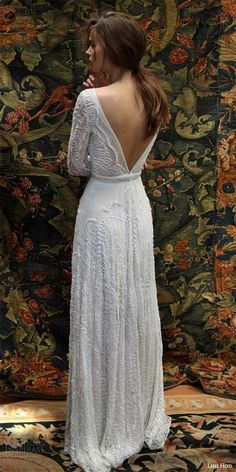 lihi hod bridal 2016 florence long sleeve wedding dress sheath silhouette deep v neckline pearl beaded bodice plunging back wedding timing quote;wedding timing of day;wedding timing line; Popular Wedding Dresses, 2016 Wedding Dresses, 2017 Wedding, Dresses 2016, Autumn Wedding Dresses, 1970s Style Wedding Dresses, Beaded Wedding Dresses, October Wedding Dresses, Winter Dresses