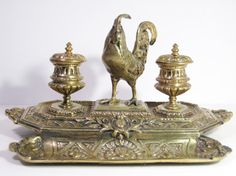 RARE Antique French Inkwell / Ornate Brass by PSSimplyVintage