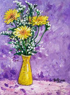 Glass Vase, Flowers, Painting, Home Decor, Art, Art Background, Decoration Home, Room Decor, Painting Art