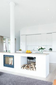 ▷ Separate ideas about open kitchen open kitchen living room separate fireplace brick fireplace orange white flowers white kitchen fron Open Kitchen And Living Room, Living Room With Fireplace, Open Plan Kitchen, Fireplace Brick, Kitchen Ideas, Indoor Log Storage, Comfy Cozy Home, Separating Rooms, Rustic Home Interiors