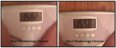 Shakeology Cleanse Day 2 - weigh in results