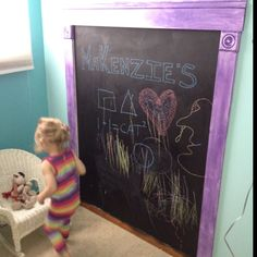 Chalkboard paint on toddler bedroom wall!! Hours of fun :)