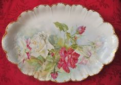 Romantic Antique Rosenthal Malmaison Victorian Cabbage Roses Serving Plate Platter Hand-Painted Signed Cole Bavaria Germany