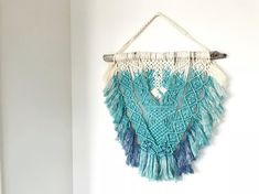 New by THE VINTGE LOOP >> Large Macrame Wall Hanging // Hand Dyed // Cream Turquoise Navy Blue // 32 inches x 25 inches $140 USD #Macrame #Hand #Dyed #Fiber #arts