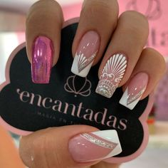 Das beste Krippenhandwerk für Kinder - New Ideas Lace Nail Art, Lace Nails, Flower Nails, Nail Swag, French Nails, White Nails, Pink Nails, Nail Art Arabesque, Ballerina Nails