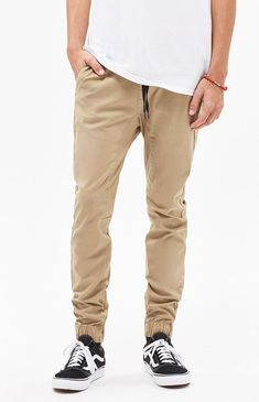 Turn up your laidback style with help from the PacSun Skinny Khaki Jogger Pants. These street-inspired joggers have a versatile skinny fit, front and back pockets, and a comfortable elasticized waist with drawstrings. Khaki Jogger Pants, Skinny Khaki Pants, Khaki Pants Outfit, Jogger Pants Outfit, Smart Casual Men, Business Casual Men, Pacsun Mens, Mens Sweatpants, Men Shorts