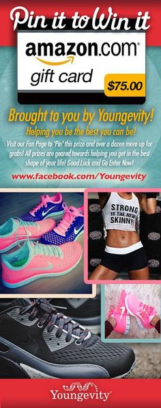 """""""PIN IT TO WIN IT!"""" - A $75 Amazon.com Gift Card so you can Purchase some New Workout / Fitness Clothing and Apparel! Youngevity Wants to Help you get in the Best Shape of Your Life this Year! Repin it To Win It!"""