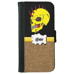 Sugar Skull with burlap iPhone 6 Wallet Case This fun & festive wallet I phone case features a yellow skull with red horns protruding out the top. The head has black and red eyes. And a yellow line going into a white speech bubble .You can put your name in the bubble. And on the bottom of the wallet case it is tan burlap texture. This is from the Day of the Dead also know as Dia de los Muertos sugar skulls on a png file. So you can change the background color by click the Customize…