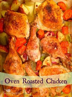 Oven Roasted Chicken with Vegetables is the ultimate one-pot wonder recipe! It& an easy weeknight dinner or perfect for casual entertaining. Vegetable Recipes, Chicken Recipes, Oven Roasted Chicken, Roast Chicken, Chicken Legs, Stuffed Chicken, Rotisserie Chicken, Fried Chicken, Cooking Recipes