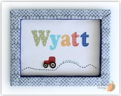 Personalized Kids Wall Art, Baby Boy Gift, Name Sign For Kids Room, Customized Decor for Kids, Nursery Wall Art, Tractor, Boys Room, Wyatt by ChicMango on Etsy