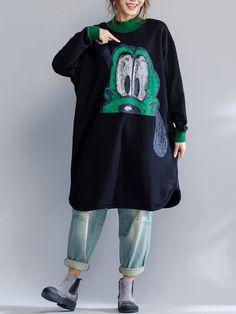 Plus Size Women Dog Printed Thick Sweatshirt Dress