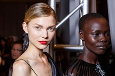 RED lips!  Backstage at the Zac Posen runway show at New York Fashion Week Spring 2016.