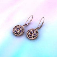 Milgrain Florid Drops    Blue Sapphire Drop In 14K Rose Gold