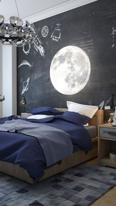 Let your kids know that the sky is the limit! This moon themed children's bedroom w/ its blue color scheme and celestial decor is a place for dreams!