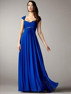A-line Off-the-shoulder Chiffon Floor-length Sleeveless Crystal Detailing Evening Dresses