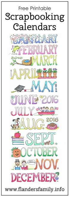 Free printable monthly calendars for scrapbooking, micro-journaling, and bulletin boards | www.flandersfamily.info