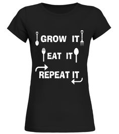 Gardening T-Shirt Grow Eat Repeat Funny Gardening Gift Tee