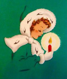 Girl with Christmas Candle. Vintage Christmas Card. Retro Christmas Card.