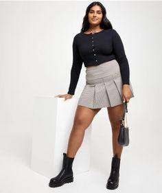 PLEATED CHECK MINI SKIRT Plaid Skirts, Mini Skirts, Check Mini Skirt, Classic White Shirt, Out Of Shape, Metal Trim, Tartan Plaid, Color Mixing, Preppy