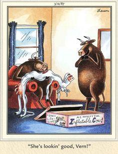 """The Far Side"" by Gary Larson Far Side Cartoons, Far Side Comics, Funny Cartoons, Funny Ads, Funny Animal Memes, Cartoon Network Adventure Time, Adventure Time Anime, The Far Side Gallery, Gary Larson Cartoons"