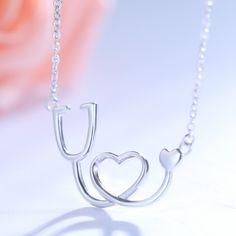 Medical Stethoscope Heart Pendant Necklace - 925 Sterling Silver - Owl J  - 1