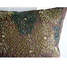Luxo Castanho Capas De Almofada 40x40 cm Seda by TheHomeCentric