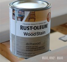 Rustoleum's stain in Driftwood Painted Furniture, Diy Furniture, Refinished Furniture, Driftwood Stain, Driftwood Furniture, Kitchen Table Makeover, The Neighbor, Light Table, Table Lighting