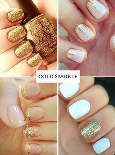 """Gold and White Wedding. Manicure, Pedicure, Nails. Gold nails - glitter nail ideas and golden nail art <a class=""""pintag"""" href=""""/explore/nailart/"""" title=""""#nailart explore Pinterest"""">#nailart</a>"""