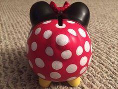 Disney Minnie Mouse pintado medio hucha de cerámica a mano