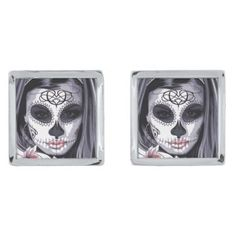 #beauty - #Mask Carnival Day of the Dead Floral Woman Silver Cufflinks