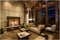 """Dream Home :: love almost every room -- The Baker Residence, Sun Valley, Idaho: """"The 12,000 square foot residence blends contemporary design with a Western/Mountain sensibility. Creating a sense of comfort was paramount to the design while still capturing the spirit of the architecture. 5 bedrooms, home theater, wine cellar, exercise room, office, kids' play room, interior and exterior lanais and open living/dining/kitchen and family room spaces, the home had to feel warm and inviting..."""""""