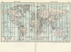 1937 Map of The World Time Zones from World Atlas.