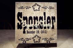Personalized wedding tile we made.