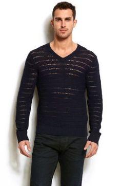 Armani Exchange Pointelle Stitch V-Neck Sweater A|X Armani Exchange. $99.00