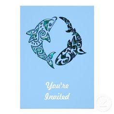 Tribal Dolphin and Shark Tattoo Custom Announcement