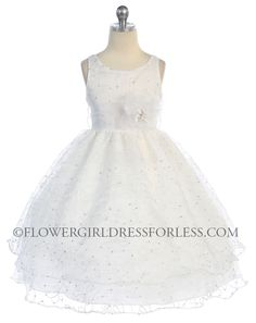 CA_D736W - Girls Dress Style 736- Organza Sleeveless Dress with Sequin Embroidery - Beaded Dresses - Flower Girl Dress For Less