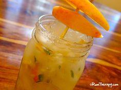 Apple Mojito (2 oz. gold rum 2 tsp. brown sugar 1 tsp. lemon juice 6 – 8 mint leaves 4 oz. fresh apple juice 3 slices apple Club soda)