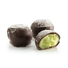 Key Lime Pie Truffles! A delicious creamy lime centre enrobed in dark chocolate and a sprinkle on top for decoration! Handcrafted in St. Stephen, New Brunswick!