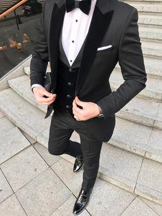 Custom Black Terno Masculino Slim Fit Men Suits Blazers Groom Wedding Tuxedos Peaked Lapel With Velvet Vest Coat Pants - Wedding suits - Party Suit For Man, Party Suits, Men Party Outfit, Slim Fit Tuxedo, Tuxedo For Men, Tuxedo Suit, Slim Suit, Tuxedo Dress, Tuxedo Cake
