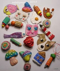 recycled paper mache pins