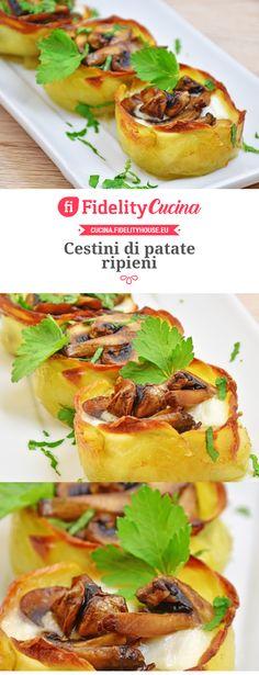 Cestini di patate ripieni Antipasto, Strudel, Potato Recipes, Finger Foods, Pesto, Food And Drink, Potatoes, Mexican, Vegetarian