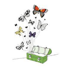 Butterflies illustration  pen and ink art print by sloeginfizz, $35.00