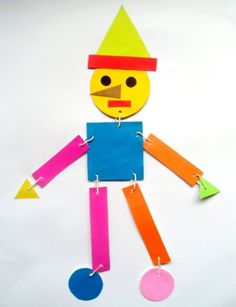 Preschool Art Projects, Craft Activities For Kids, Toddler Activities, Preschool Activities, Crafts For Kids, Pinocchio, Teaching Shapes, Infant Classroom, Puppet Crafts