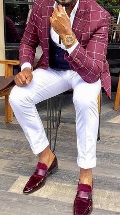 45b9ce8a Stunning men's outfit, a burgundy windowpane/plaid sport coat over a white  shirt with white pants and burgundy leather loafers.